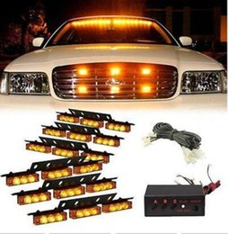 Wholesale Car Grill Led Strobe Light - 54 LED Car Truck Strobe Emergency Warning Light for Deck Dash Grill Amber Yellow