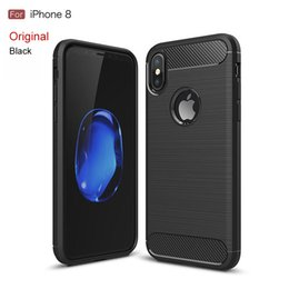 Wholesale Wholesale Shell Handbags - For iphone 8 case 6 7plus 5s SE Mobile phone shell carbon fiber drawing tpu all-inclusive apple 8 case protective cover