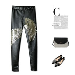Wholesale 32 Leather Pants - Wholesale lady PU pants Europe and the United States Punk Wings sequins fleece wearing Leggings Leather pants All-match boots pants 2 color
