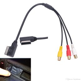 Wholesale Cable For Dvd Car - AMI MMI RCA 3RCA DVD Video Audio Input AUX Cable Wire For VW For Audi AMI A3 A4 A6 A7 A8 Q5 Q7 R8 Car Accessory #BA61