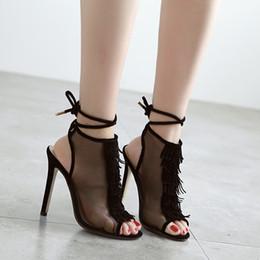 Wholesale Sexy Black Shoes Sandals - 2017 New Tassel Summer Women Pumps Sandals Fashion Ankle Strap Peep Toe Pumps Sandal Shoes Black Mesh Slingback Sexy High Heels Sandals 10cm
