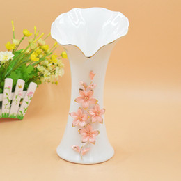 Wholesale Shoe Flower Vases - Factory Small Amount Mixed Batch 2189 High Archives Fashion White Jade Porcelain Vase Manual Send Flowers Trace A Design In Gold