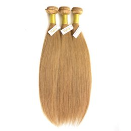 Wholesale Wholesale Eurasian Virgin Hair - Brazilian Virgin Hair Weave Bundles Color 27# Honey Blonde Peruvian Malaysian Indian Eurasian Russian Silky Straight Human Hair Extensions