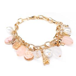 Wholesale European Beaded Bracelets - 2017 new fashion european style charm bracelet crystal beads bracelet styles jewelry with flower white pearl girls bracelets