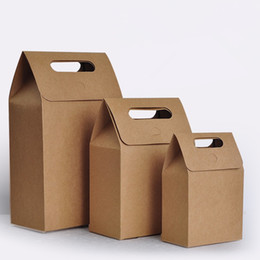 Wholesale Wholesale Handmade Papers - 100pcs lot Mini Kraft Paper Handmade Bakery packaging bags ,cookies bags, food packaging, Paper bread bags. 12x7x18cm