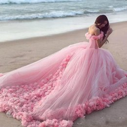 Wholesale Dress Wedding Tale - 2017 Fashionable Blush New Style Fairy Wedding Dress Tale Luxury Flowers the Shoulder Capped Sleeve Sexy Ball Gown Pink Romantic Bridal Gown