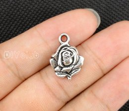 Wholesale Rose Connector - 80pcs-Antique Silver Flower Rose Daisy Flower Charms Pendant, Flower Charms Best Gifts Handmade Lovely Connector DIY Jewelry Making