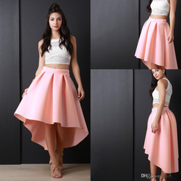 Wholesale Skirt Teen - Free Shipping Pink High Low Women Skirs For Teens Satin Pleats A Line Prom Party Dresses Zipper Back Cheap Girls Pageant Skirts