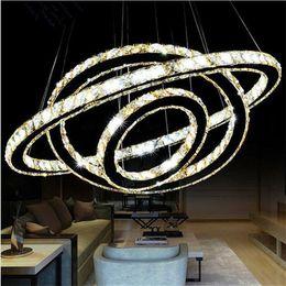 Wholesale crystal ring chandelier light - Modern LED Crystal Chandelier Lighting luxurious K9 Transparent Crystal Round 4 Rings 20CM Plus 40CM Plus 60CM Plus 80CM Lamps Fixtures