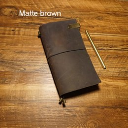 Wholesale Handmade Genuine Case - Wholesale 11x22cm size handmade notebook genuine leather travel case journal cover notebook style 5 color school supplies vintage notebooks