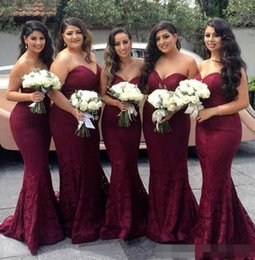 Wholesale New Trumpets For Sale - 2017 New Burgundy Mermaid Bridesmaid Dresses Elegant New Sweetheart Backless Lace Maid of the Honor Sexy Dresses cheap for sale