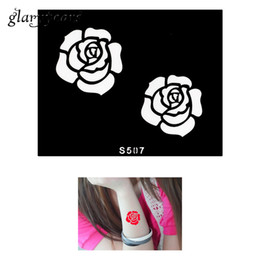 Wholesale Colours For Tattooing - Wholesale- 1 Piece Small Henna Tattoo Stencil Rose Design for Women Health Body Art DIY Coloured Drawing Tattoo Stencil Sexy Product S507