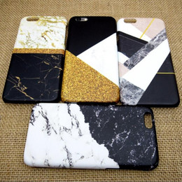 Wholesale Hard Casing 3d Printings - 3D Marble Case For iPhone 5S 7 6 6s Plus hard PC Thermal transfer printing Cover cases Marble design cell Phone cover GSZ250