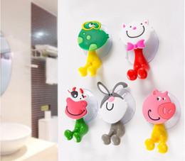 tier bad zubehör Rabatt Zahnbürstenhalter Karikatur-Tier-Katze-Kaninchen-Schwein-Sucker-Saug-Haken-Badezimmer-Zusätze 5 Arten DHL geben Verschiffen frei