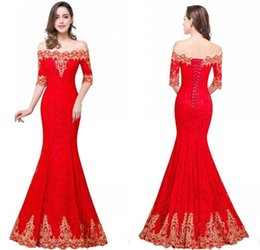 Wholesale Cheap Designer Cocktail Dresses - 2017 In Stock Mermaid Designer Occasion Dresses Off Shoulders Gold Lace Appliques Corset Back Evening Gowns Cheap Prom Party Dress