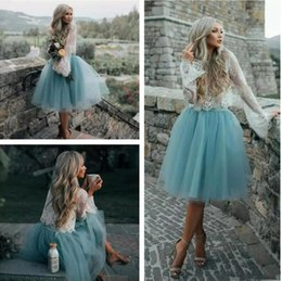 Wholesale White Formal Dresses For Sale - 2018 New Hot Sale Baby Blue Party Dresses Jewel Neck Long Sleeves Lace Applique Tulle Cocktail Dress Formal Dresses Cheap Dress for Women