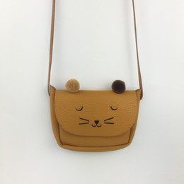 Wholesale Cat Shaped Purse - Wholesale- BaBy Girls Cute Cat Bag Baby Boys Animal Shape Coin Purse Children fluff Ears Cat Small Bag for Kids Four Color PU Children Gi