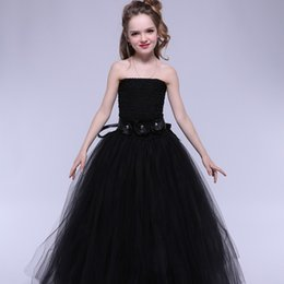 Wholesale Baby Girl S Pageant Dress - Newest Tulle Girls Dress Black Baby Kids Tutu Dress Princess Party Ball Gown Children Pageant Birthday Dresses Halloween Costume