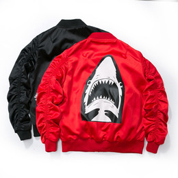 Wholesale New Bomber Jacket - Dropshipping 2017 New Spring Red Shark Bomber Jacket Men Streetwear Brand-clothing