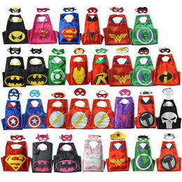 Wholesale Hot Superhero Costumes - hot Double side L70*70cm kids Superhero Capes and masks - Spiderman Flash Supergirl Batgirl Robin for kids capes with mask B5