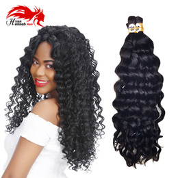 Wholesale Remy Bulk Hair For Braiding - Human Bulk Hair for Braiding No Attachment Mongolian Afro Deep Curly Crochet Braids 3 Piece Natural Black Virgin Remy Hair Bulk