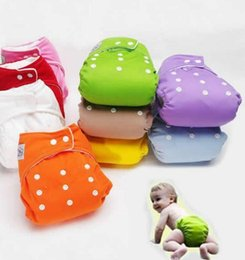 Wholesale Washable Nappy Bags - Baby Cloth Diapers Nappy Cover Size Adjustable Diaper Reusable Washable Diaper Cloth Mesh Diapers Baby Nappy Bags 7 Colors KKA2141