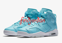 Wholesale Online Womens Sneakers - cheap new air retro 6 GS still blue womens sport basketball shoes women shoe woman sneaker big size online for sale with box