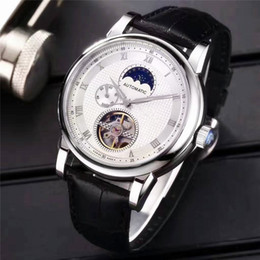 Wholesale Moon Watch Design - Baselworld New Luxury Mens Watches Imported Flywheel Automatic Mechanical Movement Moon Phase Multifunction Design Luxury Wristwatches