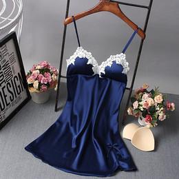 Wholesale Sexy Mini Lingerie Lady - Wholesale- Ladies Sexy Nightdress Silk V-neck Floral Sleepwear Lingerie Babydoll Nightgown Mini Sleeveless Women Sleepshirt With Padded Bra