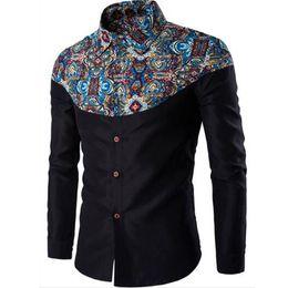Wholesale Single Sleeve Formal Dress - Summer New Mens Casual Shirts Fashion Long Sleeve Brand Printed Male Plus Size Formal Business Polka Dot Floral Men Dress Shirt