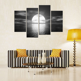 Wholesale Picture Full Moon - 4 Panels Bright Full Moon Painting Black White Seascape Picture Print on Canvas with Wooden Framed Wall Art for Home Decor Ready to Hang