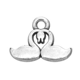 Wholesale handmade bone pendant - Gold Silver Plated Cute Bone & & Double Swan & Horse Animals Charms Zinc Alloy Pendant For Diy Handmade Jewelry