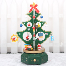 Wholesale Wholesale Mini Wooden Instruments - Three-dimensional glitter wooden Christmas tree decorations mini desktop decoration furnishing articles furnishing although instrument