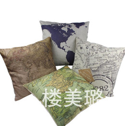 Wholesale Car Luxury Cushion - Luxury World Map Pattern Throw Pillow Cover 18*18 INCH Sofa Cushion Home Party Car Hotel Decoration Pillow Case 45*45CM