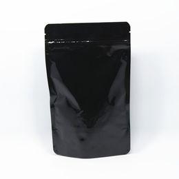 Wholesale 13 Aluminum - 20Pcs  Lot 13*21cm Doypack Black Stand Up Zipper Heat Seal Pure Aluminum Foil Ziplock Pouch Snack Storage Mylar Zip Lock Bags