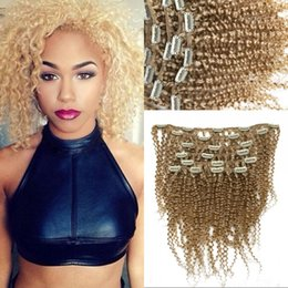 Wholesale blonde hair clip piece - Blonde Hair Clip Piece 7pcs set Mongolian Kinky Curly Hair Clip ins #613 Human Hair Extensions FDshine