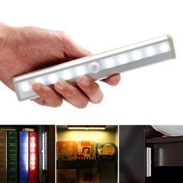 Wholesale Ir Detector Sensor - 10 leds ir infrared motion detector wireless sensor closet cabinet lamp light light bar auto night light sensor pir motion sensor