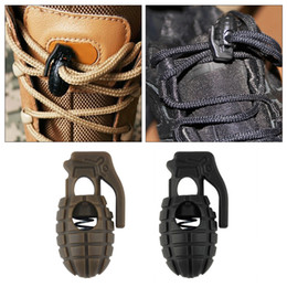 Wholesale Plastic Stoppers Cord Locks - 10pc Grenade Shape Shoe Shoelace Buckle Stopper Rope Clamp Cord Spring Lock wholesale