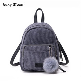 Wholesale Red Velvet Ball - Wholesale- Girl Backpack Small Mini Backpack Small Women Shoulder Bag Fur Ball Solid Color Corduroy Back Pack winter Velvet Schoolbag ZD556