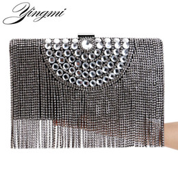 Wholesale Silver Rhinestone Evening Bags - One Side Rhinestones Tassel Women Evening Bags Beaded Gold Silver Black Day Clutches Purse Evening Bags For Wedding