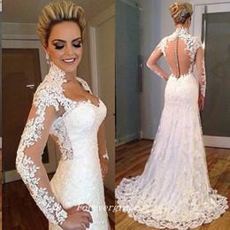 Canada Robe de mariée en dentelle couleur ivoire à manches longues de haute qualité une ligne décolleté en coeur femmes portent la robe de mariée, plus la taille supplier ivory colour wedding dresses Offre