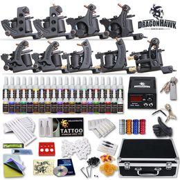 Wholesale Tattoo Machine Boxes - Complete Tattoo Kits 9 Pcs Machines Guns USA Colors Ink Set Power Supply 50 PCS Tattoo Needles Tips Grip Box D23GD-13
