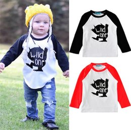 Wholesale Childrens Animal T Shirts - 2017 INS Long Sleeve T-shirts Boys Girls Baby Childrens tshirts Clothing Cartoon Letters Tshirts Boutique Undershirt Tees Tops Clothes