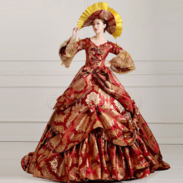 Wholesale Medieval Wine - High-end Wine Red Floral Medieval Renaissance Marie Antoinette Ball Gown Vestido Mardi Gras Carnival Women Party Dress