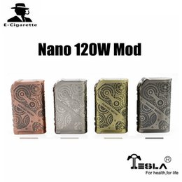 Wholesale E Cigarette Copper - 100% Original Tesla Nano 120W TC Box Mod E cigarette Mod For ARROW RDTA Tank Black Brass Copper SS Vs MVP4 100W