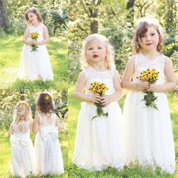 Wholesale Cheap Baby Easter Dresses - Cute Full Lace Country Flower Girl Dresses For Weddings 2017 New Boho Fashion Little Baby Communion Dress Cheap A Line Kids Formal Wear