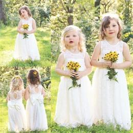 Wholesale Cheap Cute Little Girl Dresses - Cute Full Lace Country Flower Girl Dresses For Weddings 2017 New Boho Fashion Little Baby Communion Dress Cheap A Line Kids Formal Wear