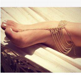 zapatos de la boda del victorian Rebajas 1 piezas de playa boda descalzo sandalias zapatos desnudos joyería de la cadena de la pierna del pie zapatos victoriano pulsera de tobillera nupcial en la pierna