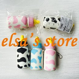 Wholesale Milk Bottle Toy - squishies wholesale 10pcs kawaii squishy lot 10cm milk bottle slow rising squishy with tags lanyard for keys squishy toys gift Free Shipping