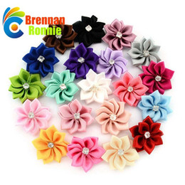 Wholesale Diy Handmade Accessories - 100PCS Lot Polygonal Flower WITHOUT CLIP Handmade DIY Accessory Satin Ribbon Wedding Scrapbooking Embellishment Crafts Accessory